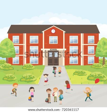 group elementary school kids school yard のベクター画像素材