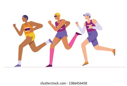 group of elite marathon runners, long distance runners, running athlete