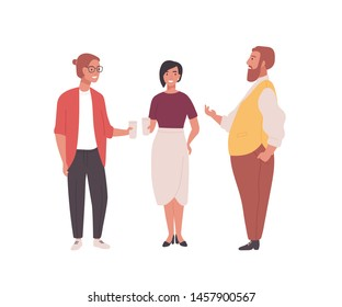 Group of employees, clerks or office workers. Funny men and women standing together and talking. Professional conversation among colleagues during coffee break. Flat cartoon vector illustration.
