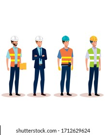 Group of engineer men standing wearing safety gears