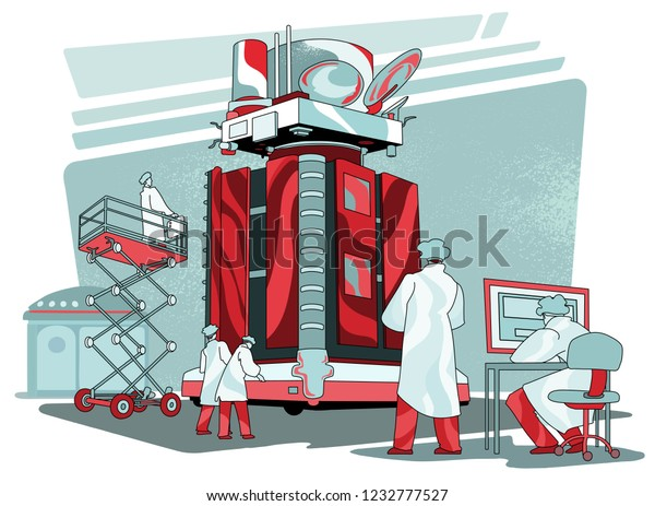Group of engineers works on spacecraft in the clean room. Scientists building satellite. Space probe under construction. Aerospace industry vector illustration.