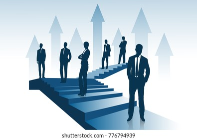 Group of entrepreneurs costs on the ladder going up representing the concept of success.