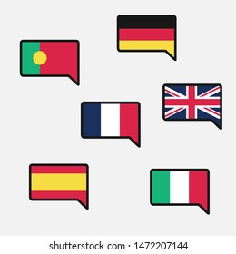 Group of European Flags. Portugal, Germany, France, United Kingdom, Italy, Spain Flag. Vector Flat Illustration