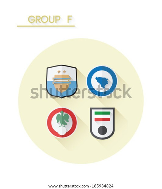 Group f with country crests on white background