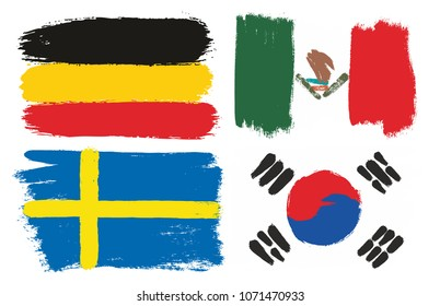 Group F Flags Vector Hand Painted with Rounded Brush
