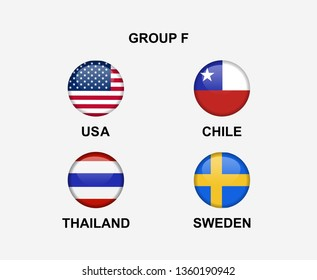 group F of nation flag in badge icon. Concept for team that qualified to final round of women soccer or sport tournament. Vector illustrative