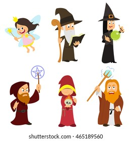 Group of fabulous magicians, fairies, necromancers, witches.  vector illustration