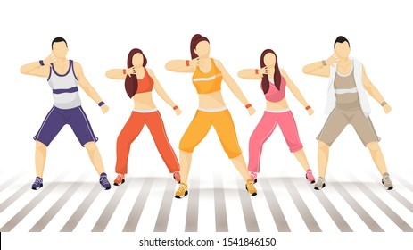 Group of faceless man and woman dancing in zumba poses.
