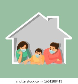 Group of family wearing medical masks to prevent disease, flu, , air pollution, contaminated air, protective Medical mask for prevent virus. Vector illustration cartoon character.