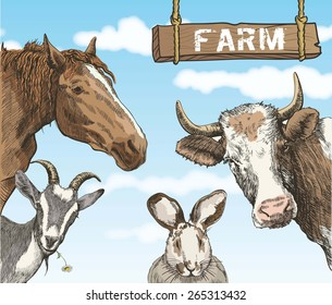 Group of  farm animals on background of blue sky with white clouds