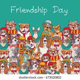 Group fashion best friends cats and dogs fun animals card and sky. Color vector illustration. EPS8