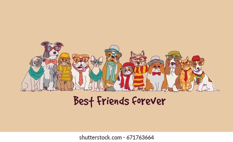 Group fashion best friends pets fun animals card. Color vector illustration. EPS8