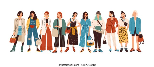 Group of fashionable women standing together vector flat illustration. Stylish female characters in modern casual, hipster clothes isolated on white. Beautiful ladies in elegant outfit