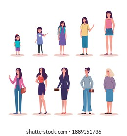 group of female persons of differents age characters vector illustration design