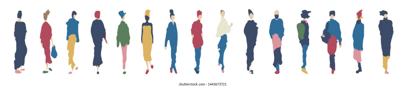 Group of female silhouettes in colorful fashionable clothes isolated on white background