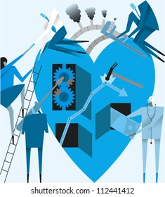 Group of figures working on a large heart as a metaphor for health care reform