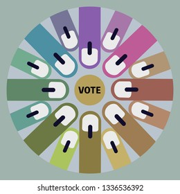 Group of fingers with electoral stain.Concept for voting in election.