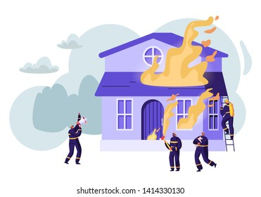 Group of Firemen Fighting with Blaze at Burning House. Male Characters Team in Firefighters Uniform Extinguish with Big Fire, Cry to Megaphone, Carry Water, Saving Dog Cartoon Flat Vector Illustration
