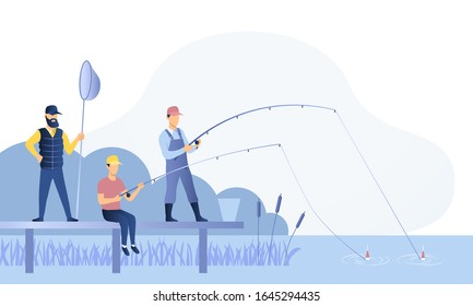 Group of fishermen or anglers fishing together off a jetty on a river with rods, reels and a net, colored vector illustration