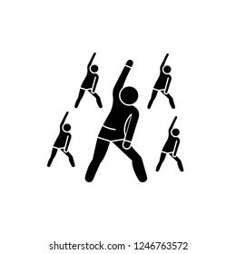 Group fitness black icon, vector sign on isolated background. Group fitness concept symbol, illustration