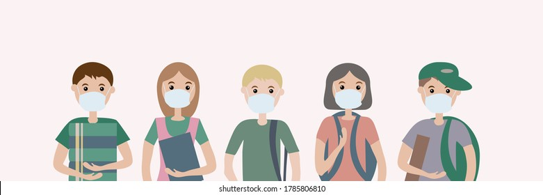 A group of five children wearing medical masks. For protection against viral diseases, environmental and air pollution.  Illustration of flat vectors. Notion of social distance and health preservation