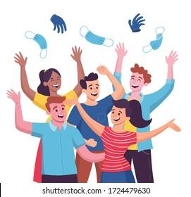 Grupo de cinco personas celebrando el fin de la Pandemia de Cuarentena de Covid 19, lanzando sus máscaras y guantes sanitarios. Ilustración vectorial de dibujos animados.
