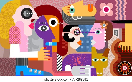 Group of five people with dirty dog abstract art vector illustration.