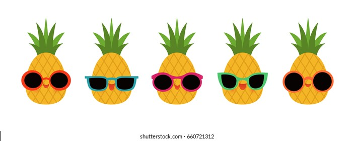 Group of five pineapples wearing different styles of sunglasses