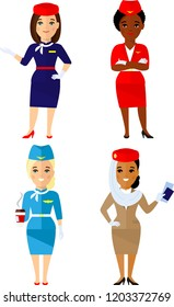Group of flat cute cartoon air hostess isolated on white background. Set of different african american, european, arab stewardess in colorful flat style.