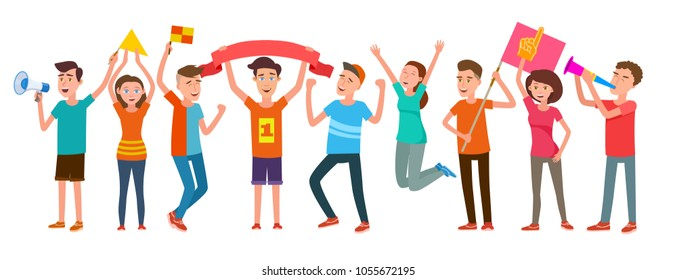 Group of football fans rejoice at the success of their team. Women and men support sportsman, vector illustration