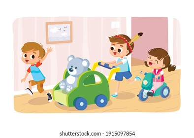 Group of four 4 children play home with wooden ride-on push toy car for kids toddlers, riding on teddy bear. Little baby girl riding on baby bicycle, tricycle. Brothers and little sister play together