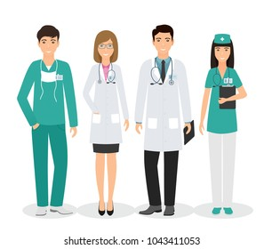 Group of four medical people standing together in uniform and different poses. Doctors and nurses on white background.