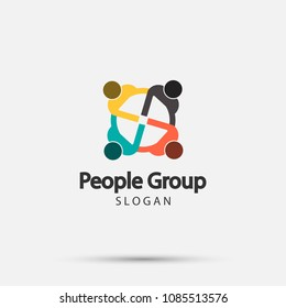 Group four people logo handshake in a circle,Teamwork icon.vector illustrator