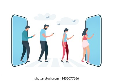 Group of four people that follow each other and looking at phones, walking through crosswalk between two big phones. Vector illustration