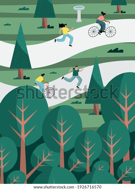 group of four persons practicing activities in the park scene vector illustration design