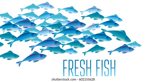 Group of fresh fish vector illustration for header, web, print, card and invitation. Plenty of herring or cod moving in the sea water.