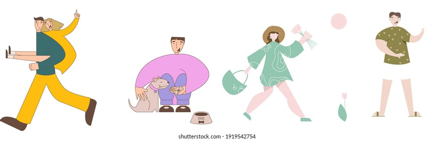 Group of friendly diverse people standing together vector flat illustration. Men and women of various ages posing isolated on white. Happy young generations characters. Social diversity