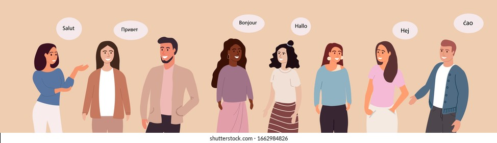 A group of friendly people of different races and cultures says hello in different languages from around the world.Vector illustration