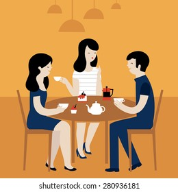 Group Of Friends in Cafe. Vector Illustration.