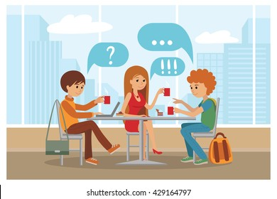 Group of friends in cafe - Vector Illustration with city landscape on window. People sitting at table at lunch talk and drink coffee and tea.