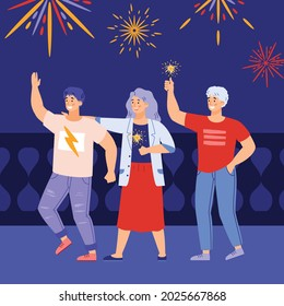 Group of friends celebrating solemn event or holiday party with fireworks, flat vector illustration on night blue background. People enjoying firework lights.