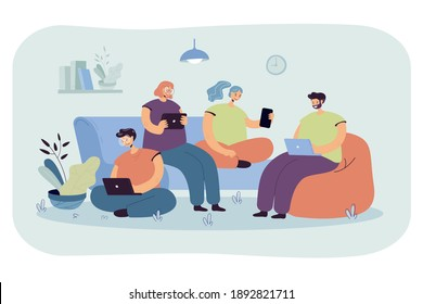 Group of friends with digital devices meeting at home, sitting together. People using laptops, tablet, mobile phone for internet and social media browsing, For communication, public access concept