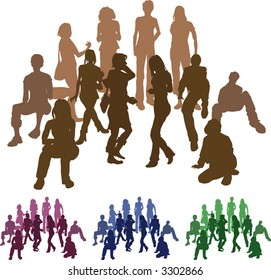 A group of friends each is a complete silhouette on separate layer in the vector files (those hugging are an individual set). Vector file includes several different colour versions