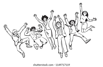 Group of friends have fun, jump, dance and fool around. Happy young men and women, boys and girls at the party. Buiness steam celebrate success and professional achievements. Hand drawn vector sketch.