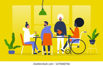 A group of friends having dinner. Asian food. Eating with chopsticks. Restaurant. Millennial lifestyle. Flat editable vector illustration, clip art