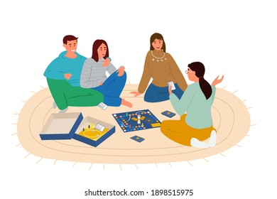 Group Of Friends Playing Board Game Sitting On The Floor Vector Illustration. Woman Explaining Words From The Playing Card. Isolated On White.