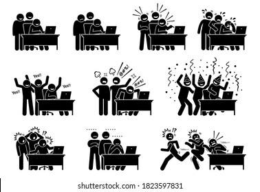 Group of friends reactions towards the online news and things they see and read from the Internet. Vector illustrations of a group of men reacting and showing different emotions at the laptop content.