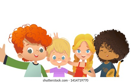 Group of friends taking a selfie. Multicultiral Children shoot themself on smartphone. Kids fooling around on camera. Vector illustration.