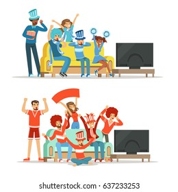 Group of friends watching sports on TV and celebrating victory at home. People dressed in red and blue, supporting their favorite sports team, colorful Illustrations
