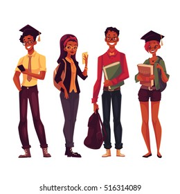 Group of full height black college, university students with books and phones, cartoon style illustration isolated on white background. Male and female African American students in casual clothes